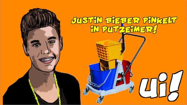 Justin Bieber pinkelt in Putzeimer